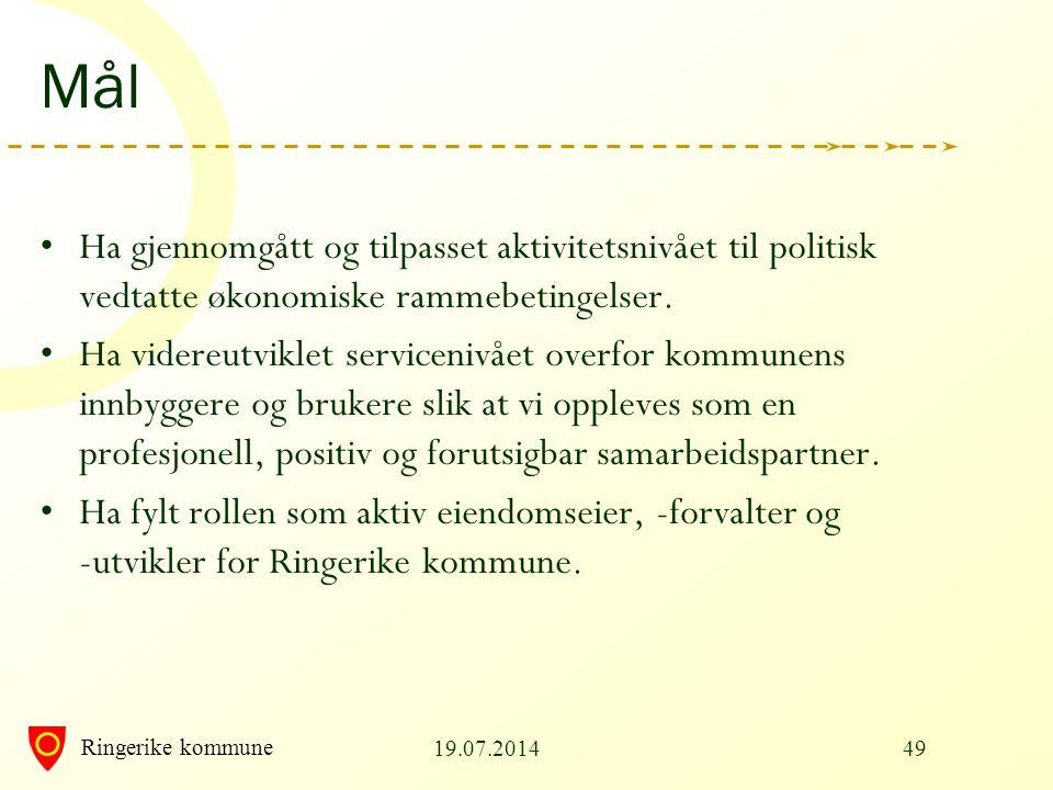 Ringerike kommune Mål Ha gjennomgått og tilpasset aktivitetsnivået til politisk vedtatte økonomiske rammebetingelser. Ha videreutviklet servicenivået