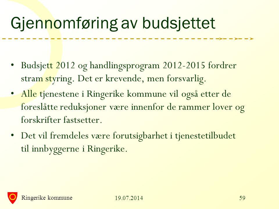 Ringerike kommune Gjennomføring av budsjettet Budsjett 2012 og handlingsprogram 2012-2015 fordrer stram styring. Det er krevende, men forsvarlig. Alle