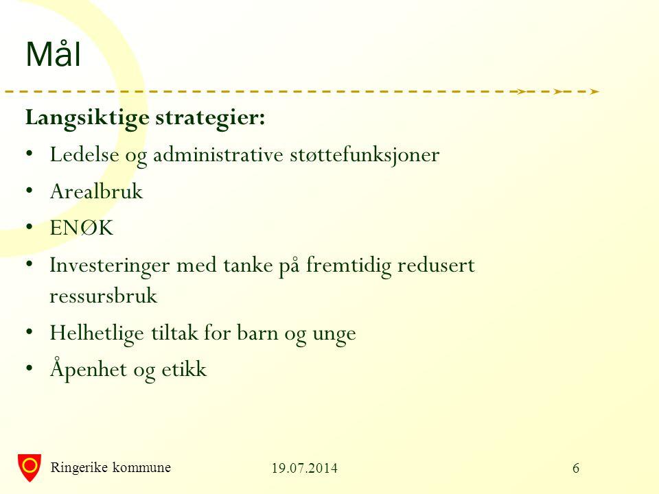 Ringerike kommune 19.07.20146 Mål Langsiktige strategier: Ledelse og administrative støttefunksjoner Arealbruk ENØK Investeringer med tanke på fremtid