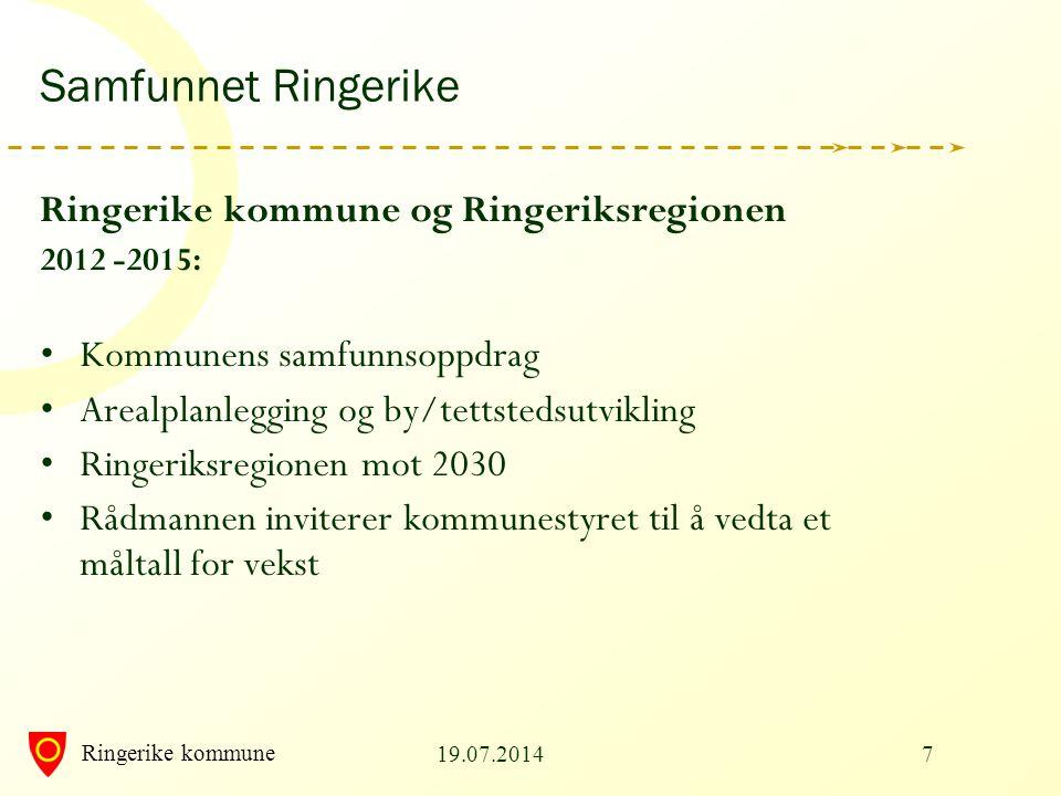 Ringerike kommune 19.07.20147 Samfunnet Ringerike Ringerike kommune og Ringeriksregionen 2012 -2015: Kommunens samfunnsoppdrag Arealplanlegging og by/