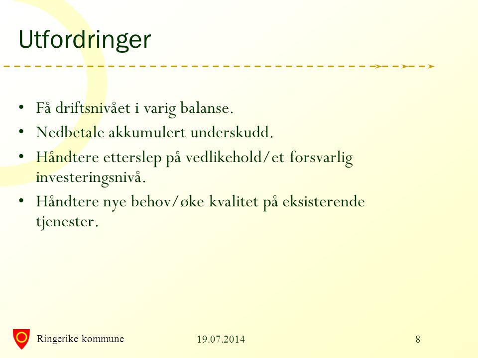 Ringerike kommune 19.07.20148 Utfordringer Få driftsnivået i varig balanse. Nedbetale akkumulert underskudd. Håndtere etterslep på vedlikehold/et fors