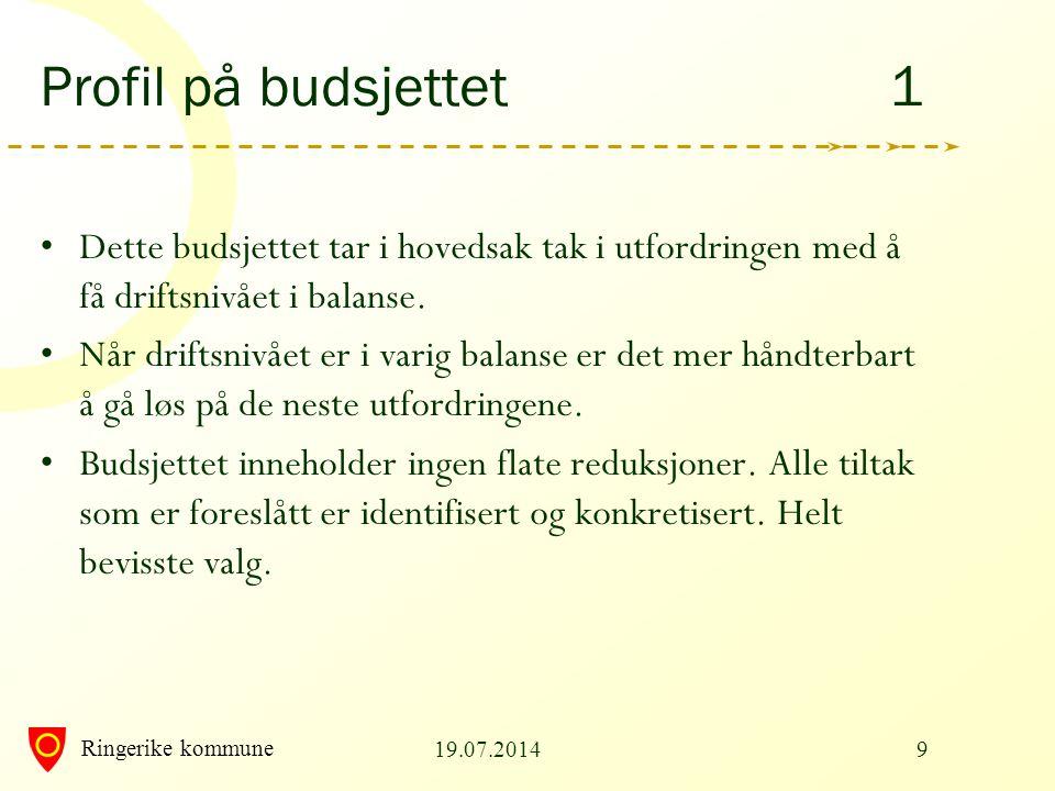 Ringerike kommune Profil på budsjettet 1 Dette budsjettet tar i hovedsak tak i utfordringen med å få driftsnivået i balanse. Når driftsnivået er i var