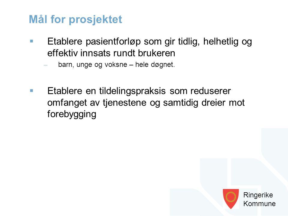 Ringerike Kommune  Etablere pasientforløp som gir tidlig, helhetlig og effektiv innsats rundt brukeren – barn, unge og voksne – hele døgnet.  Etable