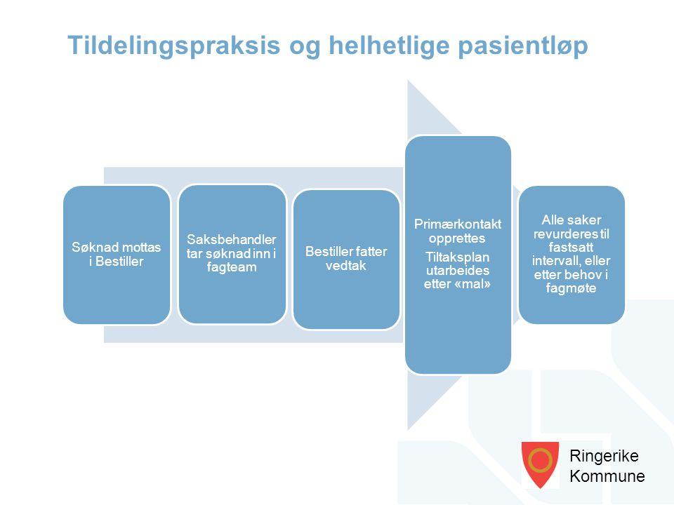 Ringerike Kommune Søknad mottas i Bestiller Saksbehandler tar søknad inn i fagteam Bestiller fatter vedtak Primærkontakt opprettes Tiltaksplan utarbei