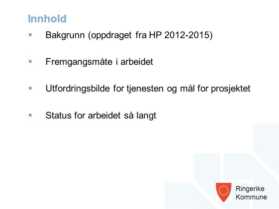Ringerike Kommune  Bakgrunn (oppdraget fra HP 2012-2015)  Fremgangsmåte i arbeidet  Utfordringsbilde for tjenesten og mål for prosjektet  Status f