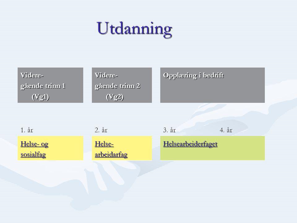 Utdanning Videre- gående trinn 1 (Vg1) Videre- gående trinn 2 (Vg2) Opplæring i bedrift 1. år 2. år 3. år 4. år Helse- og Helse- og sosialfag Helse- a
