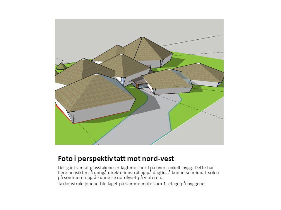 Foto i perspektiv tatt mot nord-vest Det går fram at glasstakene er lagt mot nord på hvert enkelt bygg.