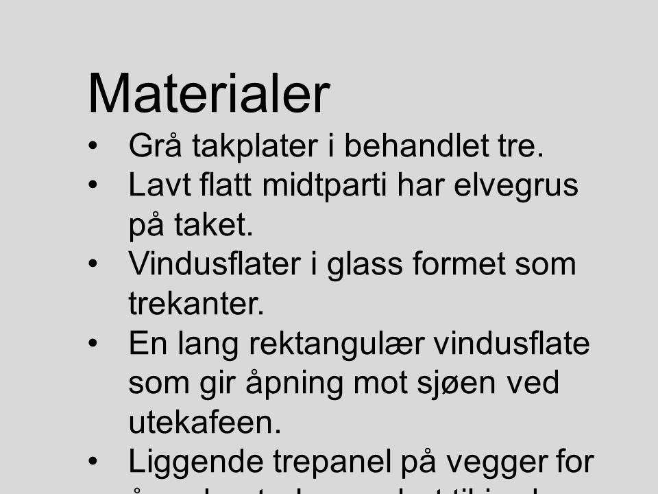 Materialer Grå takplater i behandlet tre. Lavt flatt midtparti har elvegrus på taket. Vindusflater i glass formet som trekanter. En lang rektangulær v