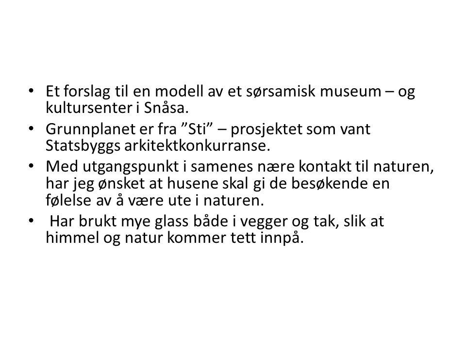 """Et forslag til en modell av et sørsamisk museum – og kultursenter i Snåsa. Grunnplanet er fra """"Sti"""" – prosjektet som vant Statsbyggs arkitektkonkurran"""