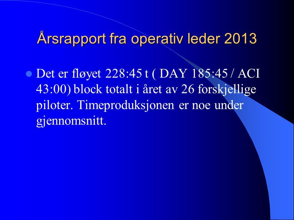 Årsrapport fra operativ leder 2013 Det er fløyet 228:45 t ( DAY 185:45 / ACI 43:00) block totalt i året av 26 forskjellige piloter.