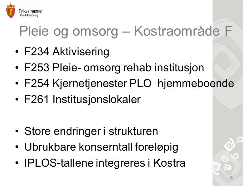 Pleie og omsorg – Kostraområde F F234 Aktivisering F253 Pleie- omsorg rehab institusjon F254 Kjernetjenester PLO hjemmeboende F261 Institusjonslokaler Store endringer i strukturen Ubrukbare konserntall foreløpig IPLOS-tallene integreres i Kostra 26