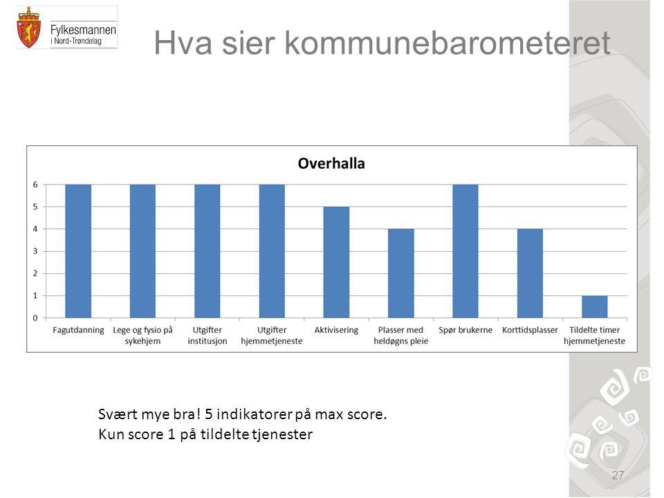 Hva sier kommunebarometeret 27 Svært mye bra. 5 indikatorer på max score.