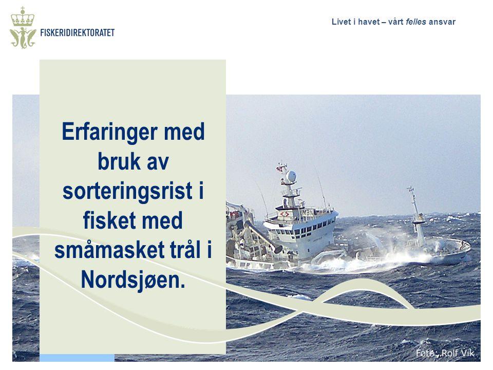 Livet i havet – vårt felles ansvar Bakgrunn for og formålet med utviklingen av sorteringsrist i fisket med småmasket trål i Nordsjøen Sikre at reguleringer iverksettes og at fisket gjennomføres ut fra hensynet til ressursvennlig og rasjonell beskatning av fiskebestandene.
