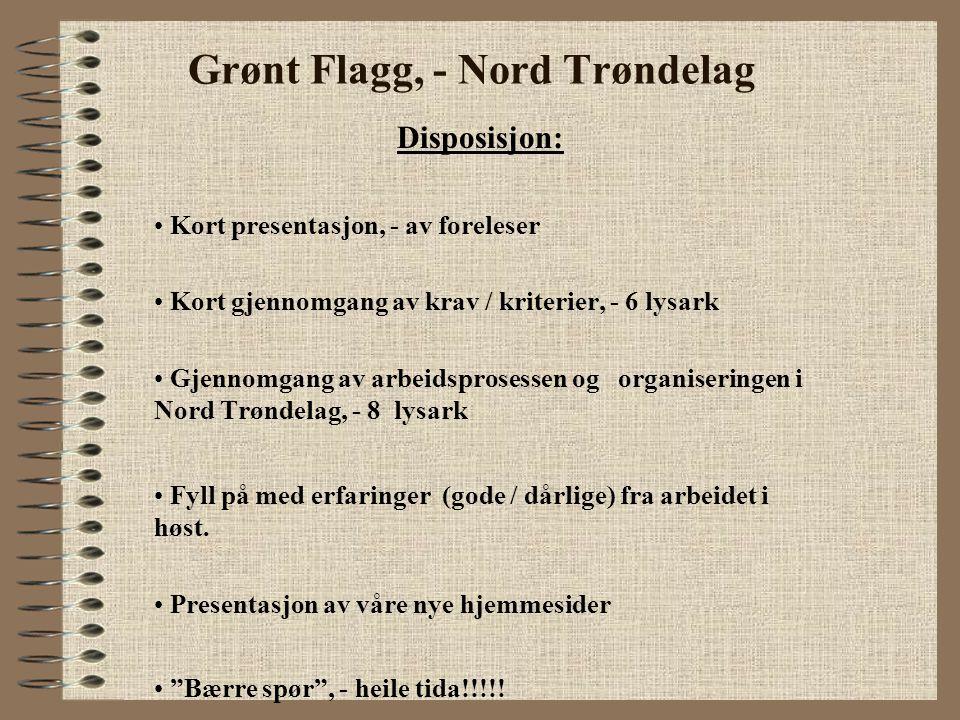 Grønt Flagg, - Nord Trøndelag Disposisjon: Kort presentasjon, - av foreleser Kort gjennomgang av krav / kriterier, - 6 lysark Gjennomgang av arbeidspr