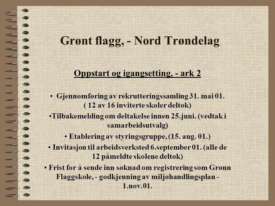 Grønt flagg, - Nord Trøndelag Oppstart og igangsetting, - ark 2 Gjennomføring av rekrutteringssamling 31. mai 01. ( 12 av 16 inviterte skoler deltok)