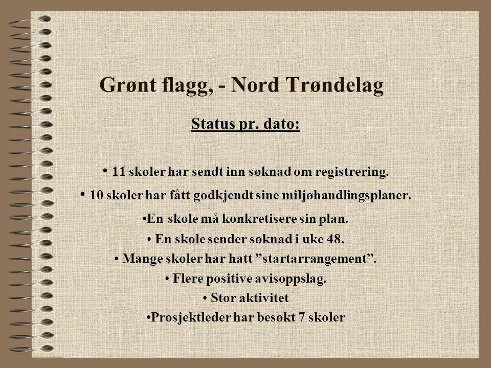 Grønt flagg, - Nord Trøndelag Status pr. dato: 11 skoler har sendt inn søknad om registrering. 10 skoler har fått godkjendt sine miljøhandlingsplaner.