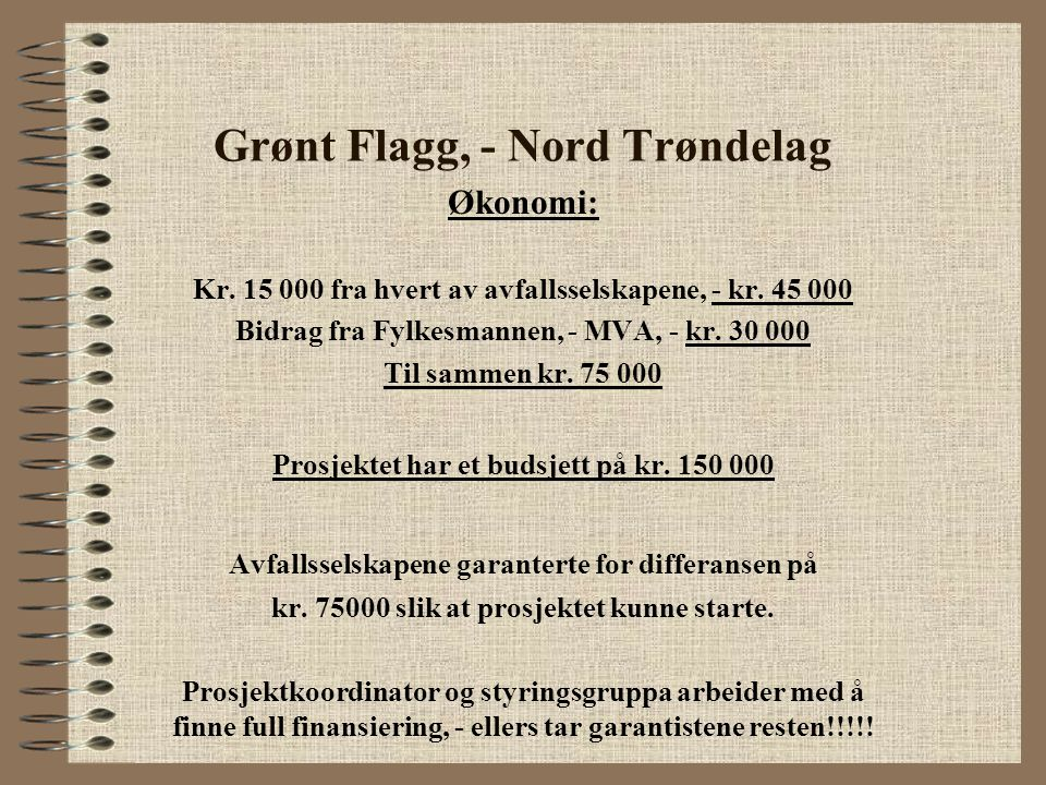 Grønt Flagg, - Nord Trøndelag Økonomi: Kr. 15 000 fra hvert av avfallsselskapene, - kr. 45 000 Bidrag fra Fylkesmannen, - MVA, - kr. 30 000 Til sammen