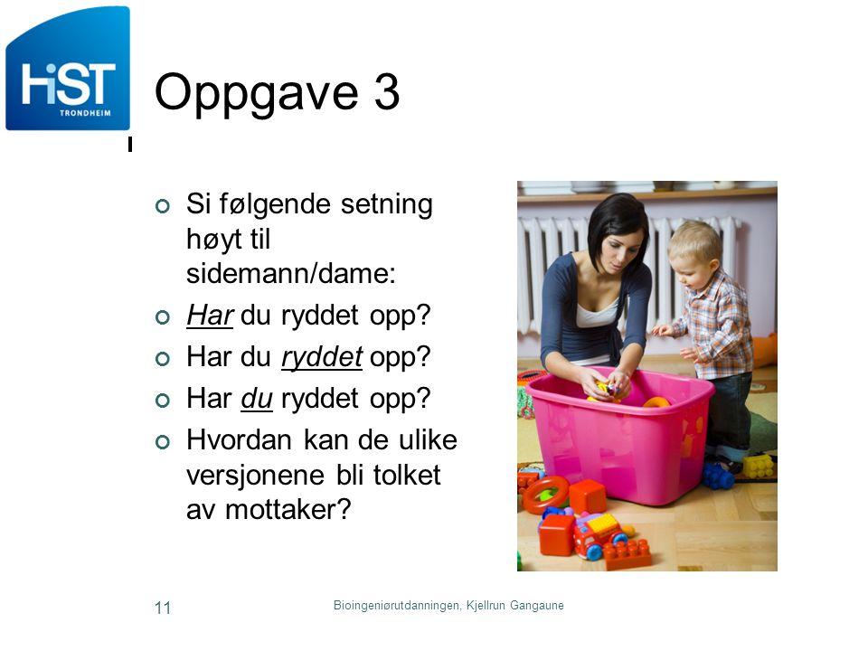 Oppgave 3 Si følgende setning høyt til sidemann/dame: Har du ryddet opp? Hvordan kan de ulike versjonene bli tolket av mottaker? Bioingeniørutdanninge