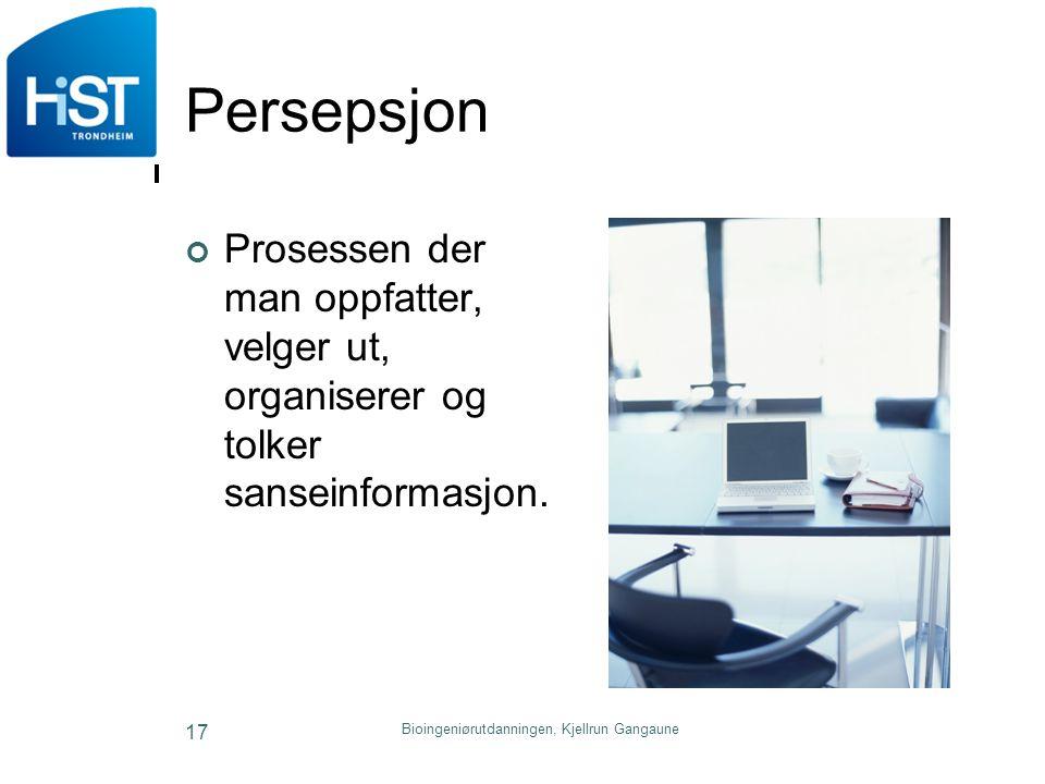Persepsjon Prosessen der man oppfatter, velger ut, organiserer og tolker sanseinformasjon. Bioingeniørutdanningen, Kjellrun Gangaune 17