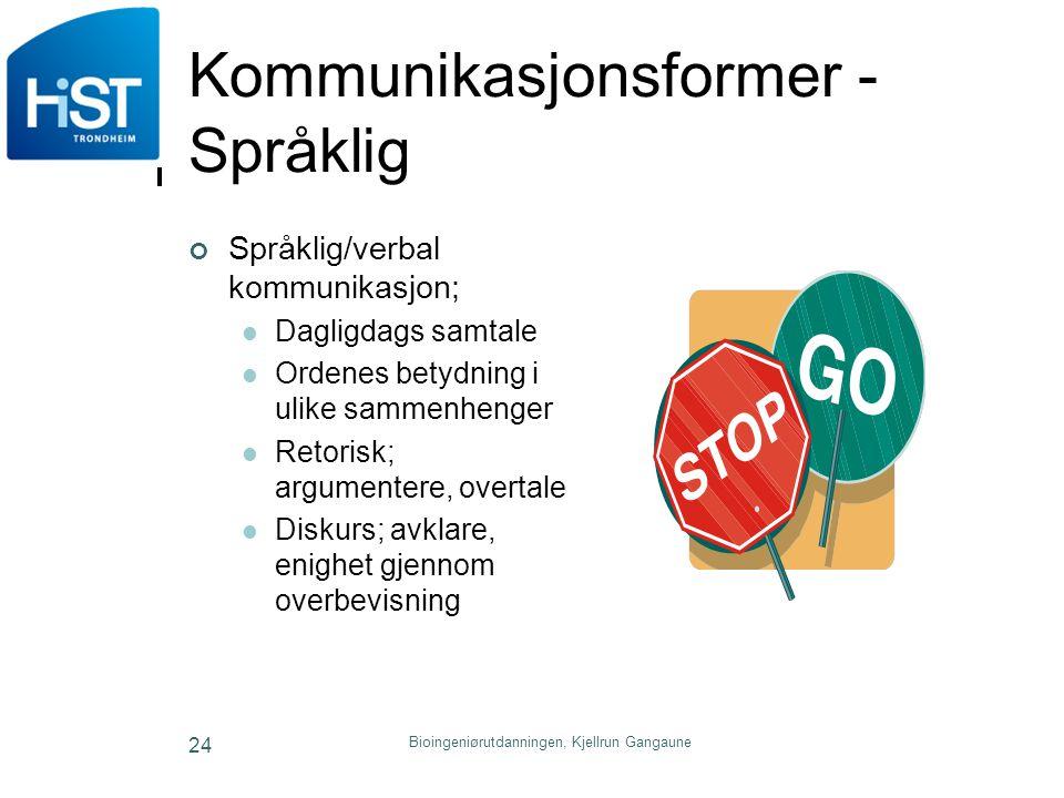 Bioingeniørutdanningen, Kjellrun Gangaune 24 Kommunikasjonsformer - Språklig Språklig/verbal kommunikasjon; Dagligdags samtale Ordenes betydning i uli