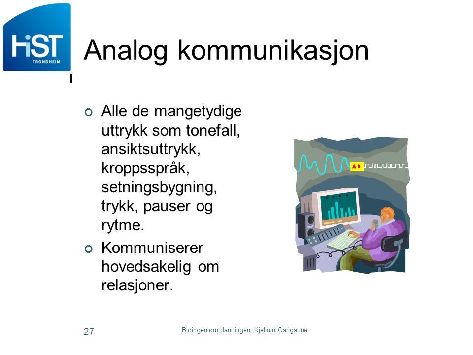 Analog kommunikasjon Alle de mangetydige uttrykk som tonefall, ansiktsuttrykk, kroppsspråk, setningsbygning, trykk, pauser og rytme. Kommuniserer hove