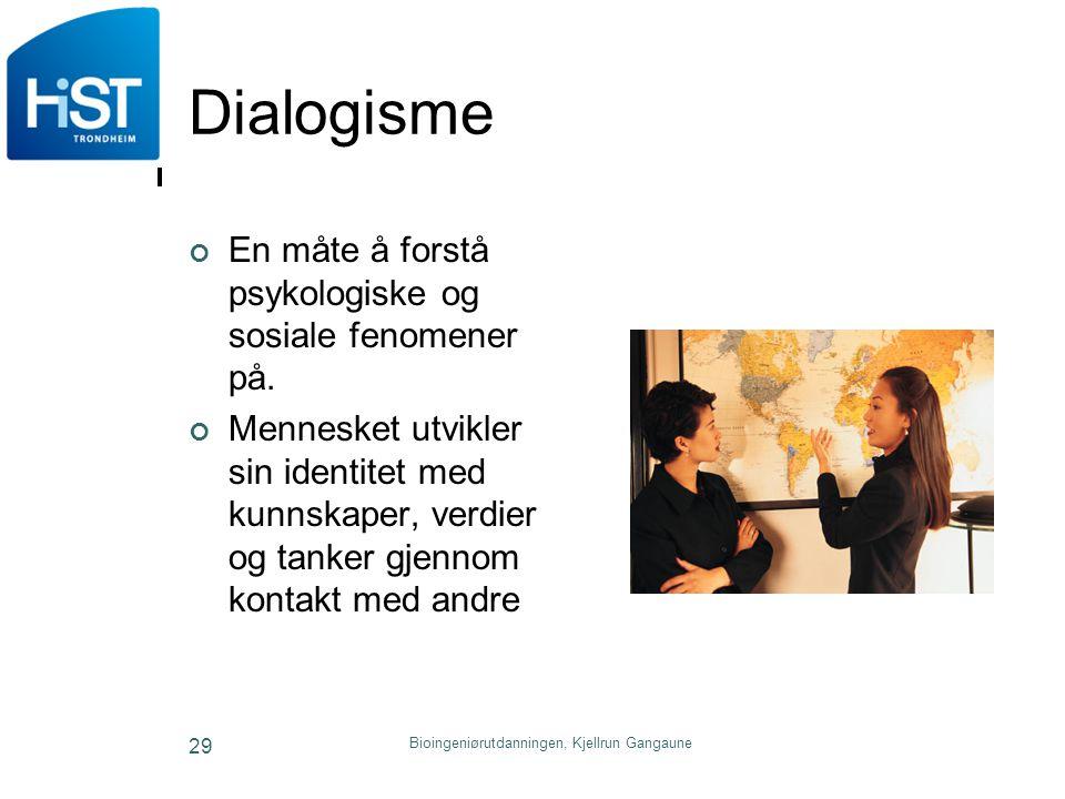 Dialogisme En måte å forstå psykologiske og sosiale fenomener på. Mennesket utvikler sin identitet med kunnskaper, verdier og tanker gjennom kontakt m