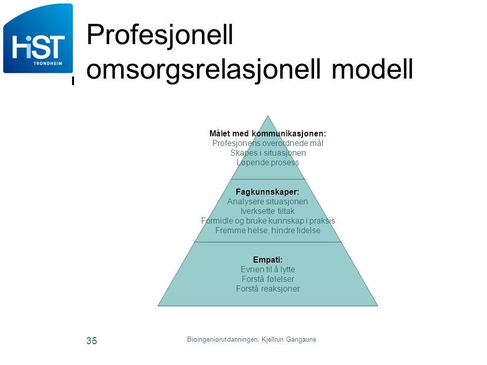 Bioingeniørutdanningen, Kjellrun Gangaune 35 Profesjonell omsorgsrelasjonell modell Målet med kommunikasjonen: Profesjonens overordnede mål Skapes i s