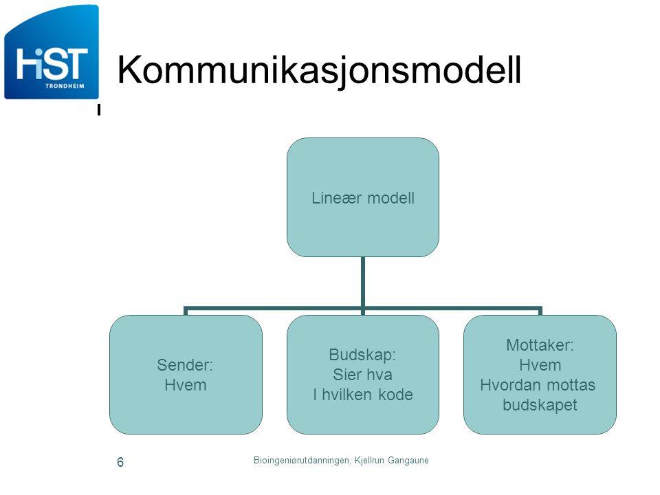 6 Kommunikasjonsmodell Lineær modell Sender: Hvem Budskap: Sier hva I hvilken kode Mottaker: Hvem Hvordan mottas budskapet