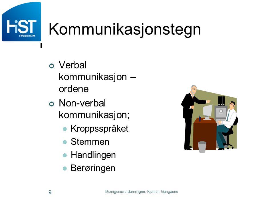 Bioingeniørutdanningen, Kjellrun Gangaune 9 Kommunikasjonstegn Verbal kommunikasjon – ordene Non-verbal kommunikasjon; Kroppsspråket Stemmen Handlinge
