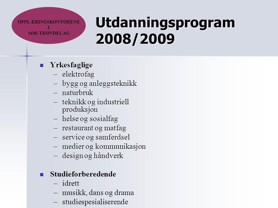 Utdanningsprogram 2008/2009 Yrkesfaglige Yrkesfaglige –elektrofag –bygg og anleggsteknikk –naturbruk –teknikk og industriell produksjon –helse og sosi