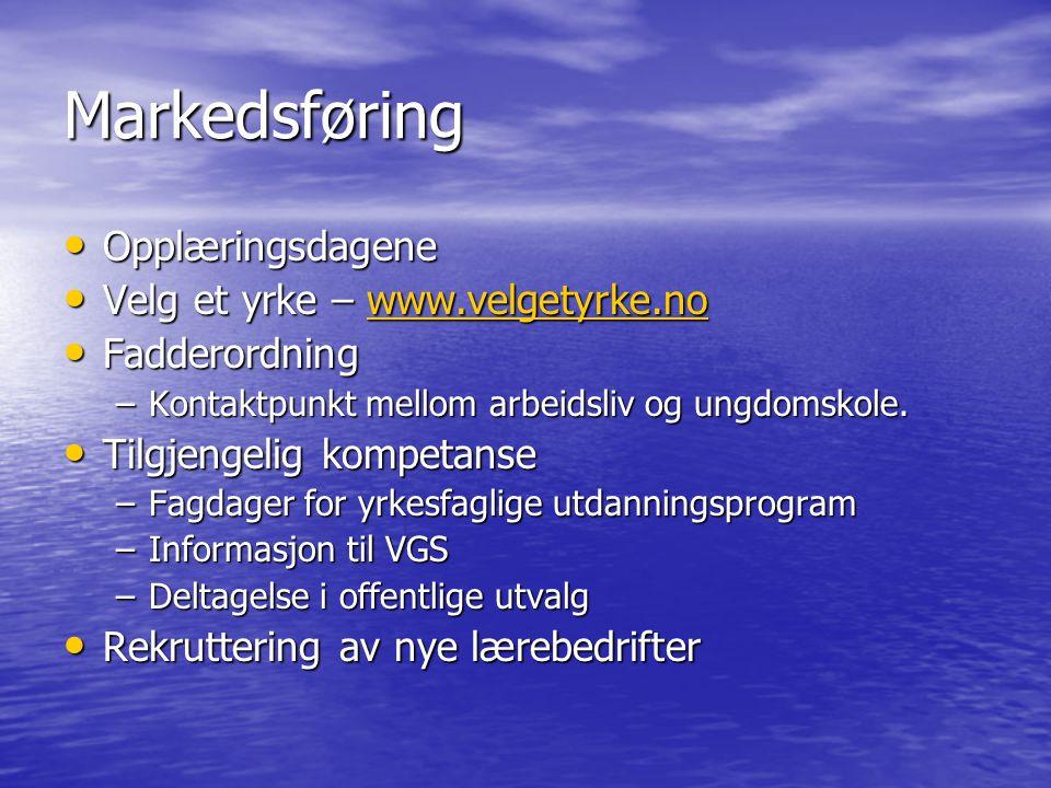 Markedsføring Opplæringsdagene Opplæringsdagene Velg et yrke – www.velgetyrke.no Velg et yrke – www.velgetyrke.nowww.velgetyrke.no Fadderordning Fadde