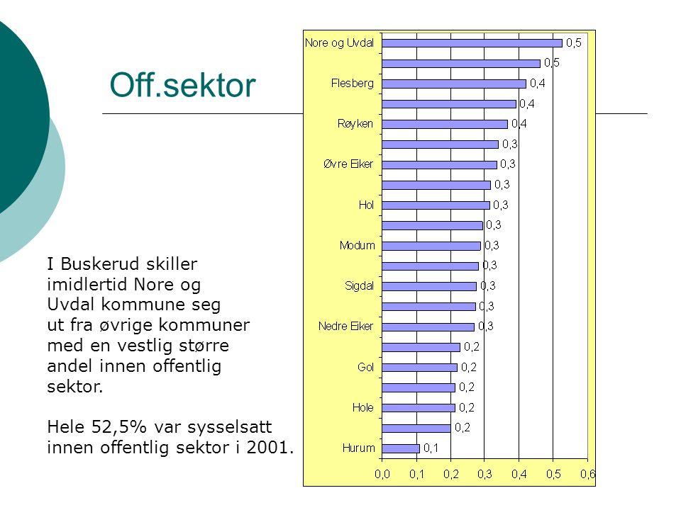 Endring – arbeidstakere og næring Arbeidstakere i Nore og Uvdal kommune, næring og tid 199519992000 Endring i anta ll 1995 - 2000 Endring i % 1995- 2000 0633 Nore og Uvdal Industri og bergverksdrift (10,12-37)6685882233 % Kraft- og vannforsyning (40)6544 -21-32 % Bygge- og anleggsvirksomhet (45)6085882847 % Varehandel, hotell- og restaurantvirksomhet (50-55)119123105-14-12 % Transport, lager, post og telekommunikasjon (60-64)563331-25-45 % Finansiell tjenesteyting og forsikring (65-67)171311-6-35 % Forretningsmessig tjenesteyting og eiendomsdrift (70-74)13333825192 % Off.