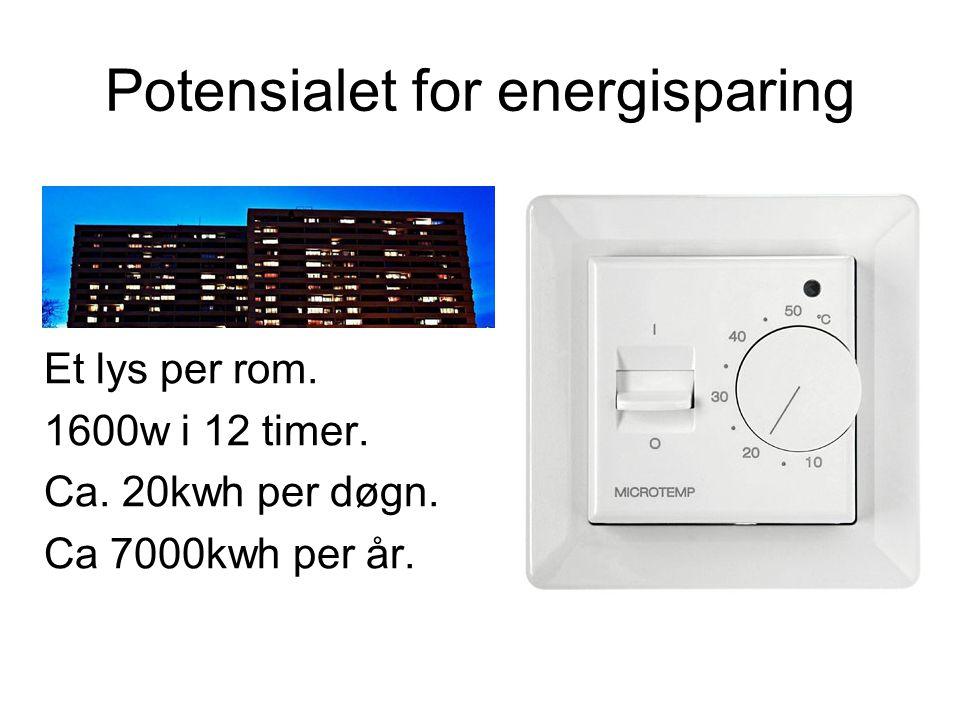 Potensialet for energisparing Et lys per rom. 1600w i 12 timer. Ca. 20kwh per døgn. Ca 7000kwh per år.
