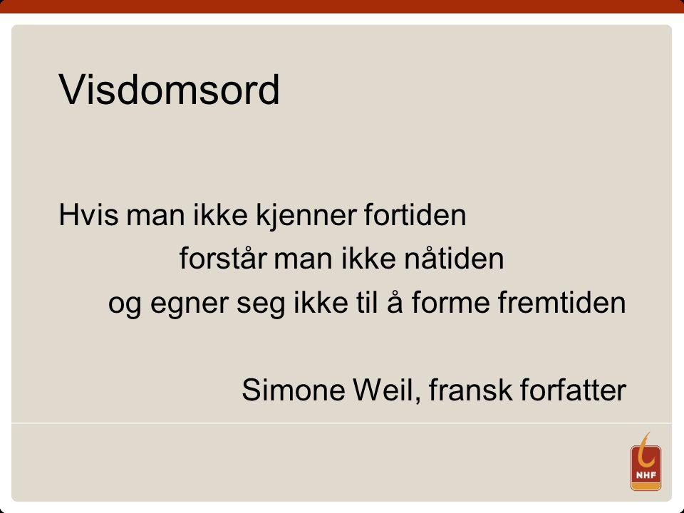 Visdomsord Hvis man ikke kjenner fortiden forstår man ikke nåtiden og egner seg ikke til å forme fremtiden Simone Weil, fransk forfatter