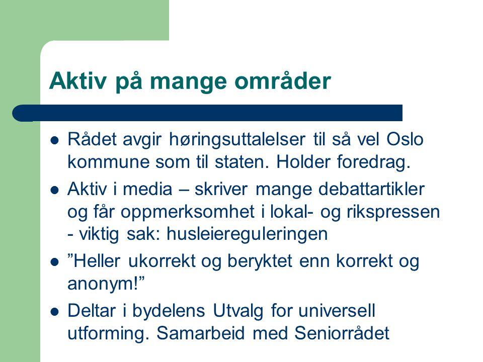 Aktiv på mange områder Rådet avgir høringsuttalelser til så vel Oslo kommune som til staten.
