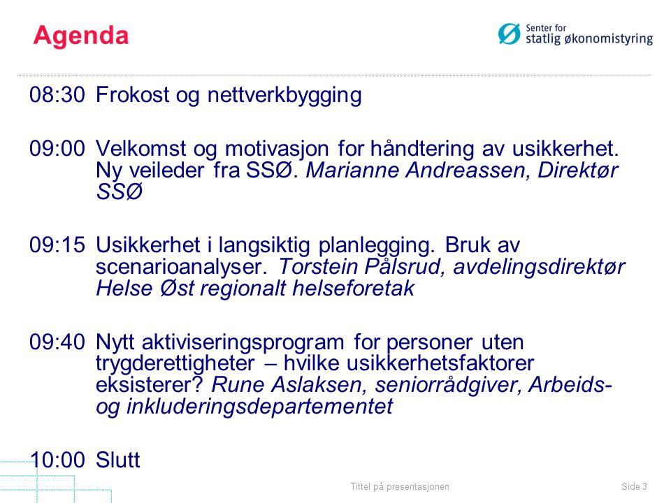 Side 3Tittel på presentasjonen Agenda 08:30Frokost og nettverkbygging 09:00Velkomst og motivasjon for håndtering av usikkerhet.