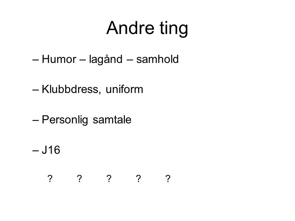 Andre ting –Humor – lagånd – samhold –Klubbdress, uniform –Personlig samtale –J16 ?????