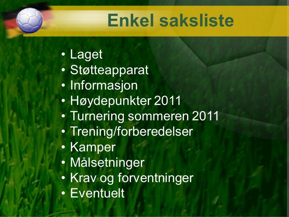 Enkel saksliste Laget Støtteapparat Informasjon Høydepunkter 2011 Turnering sommeren 2011 Trening/forberedelser Kamper Målsetninger Krav og forventnin