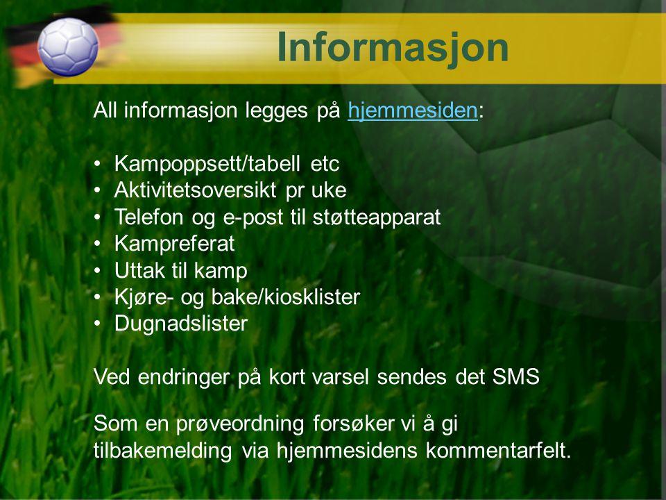 Informasjon All informasjon legges på hjemmesiden:hjemmesiden Kampoppsett/tabell etc Aktivitetsoversikt pr uke Telefon og e-post til støtteapparat Kam