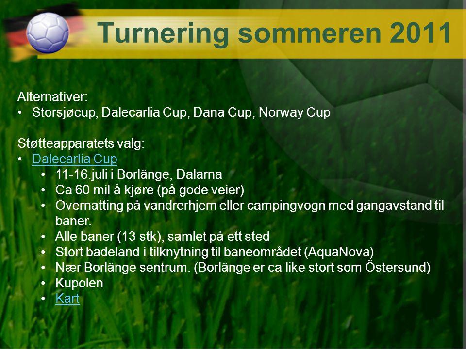 Turnering sommeren 2011 Alternativer: Storsjøcup, Dalecarlia Cup, Dana Cup, Norway Cup Støtteapparatets valg: Dalecarlia Cup 11-16.juli i Borlänge, Da