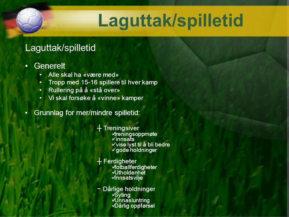 Laguttak/spilletid Generelt Alle skal ha «være med» Tropp med 15-16 spillere til hver kamp Rullering på å «stå over» Vi skal forsøke å «vinne» kamper