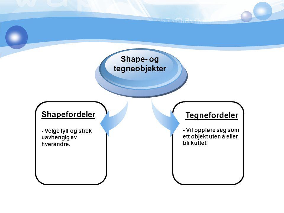 Shapefordeler - Velge fyll og strek uavhengig av hverandre. Shape- og tegneobjekter Tegnefordeler - Vil oppføre seg som ett objekt uten å eller bli ku