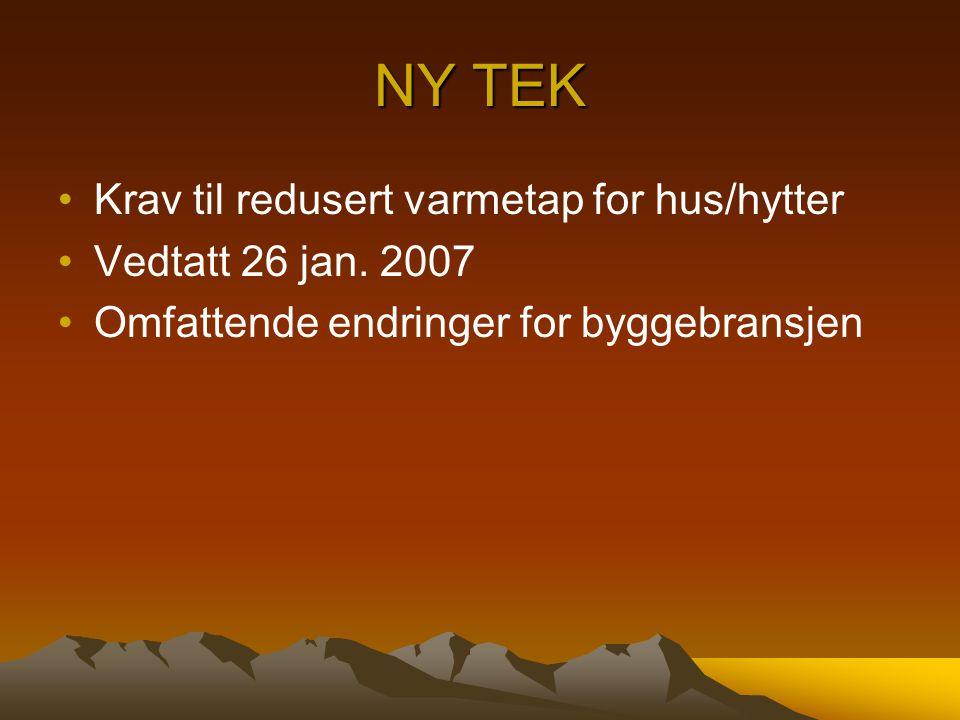 NY TEK Krav til redusert varmetap for hus/hytter Vedtatt 26 jan. 2007 Omfattende endringer for byggebransjen