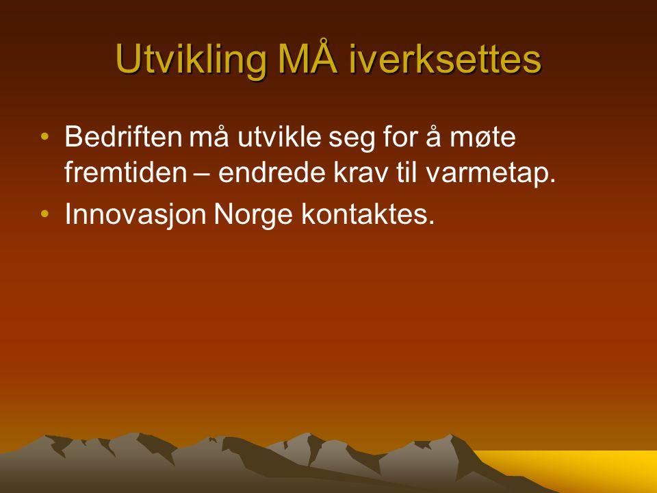 Utvikling MÅ iverksettes Bedriften må utvikle seg for å møte fremtiden – endrede krav til varmetap. Innovasjon Norge kontaktes.
