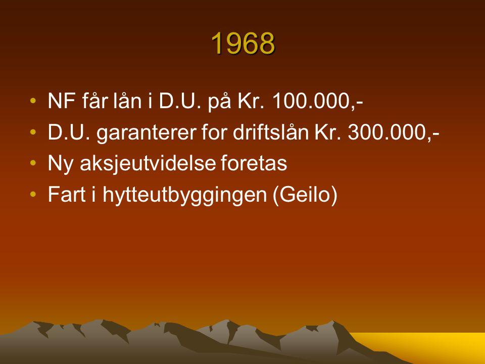 1968 NF får lån i D.U. på Kr. 100.000,- D.U. garanterer for driftslån Kr. 300.000,- Ny aksjeutvidelse foretas Fart i hytteutbyggingen (Geilo)