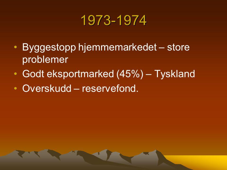 1973-1974 Byggestopp hjemmemarkedet – store problemer Godt eksportmarked (45%) – Tyskland Overskudd – reservefond.