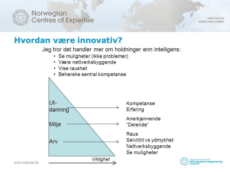 www.nce-se.no Hvordan være innovativ? Jeg tror det handler mer om holdninger enn intelligens: Se muligheter (ikke problemer) Være nettverksbyggende Vi