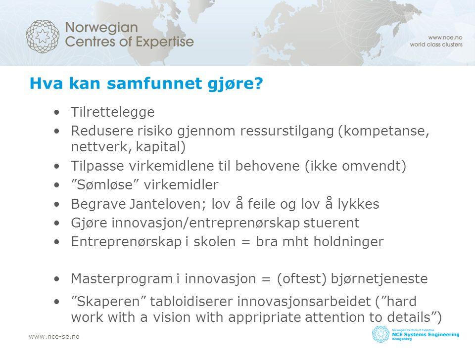 www.nce-se.no Hva kan samfunnet gjøre? Tilrettelegge Redusere risiko gjennom ressurstilgang (kompetanse, nettverk, kapital) Tilpasse virkemidlene til