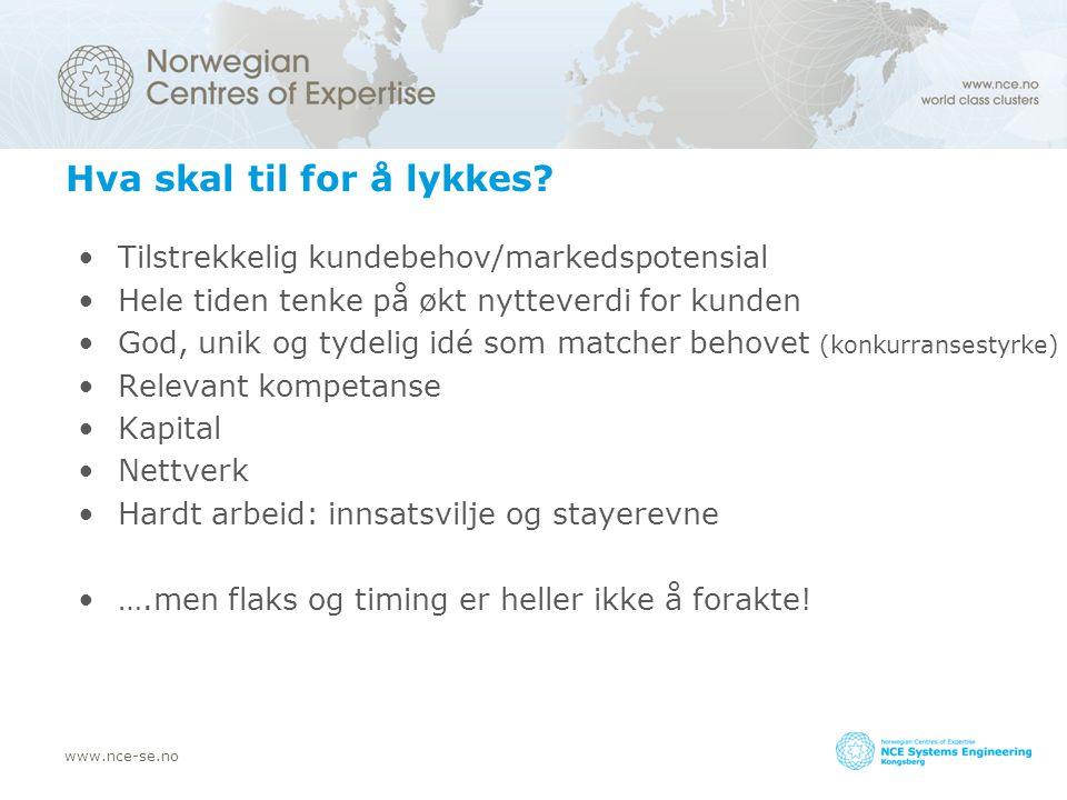 www.nce-se.no Hva skal til for å lykkes.