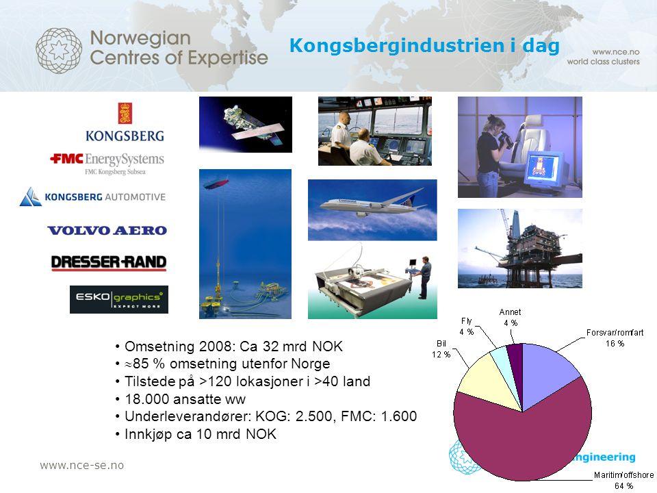 www.nce-se.no Kongsbergindustrien i dag Omsetning 2008: Ca 32 mrd NOK  85 % omsetning utenfor Norge Tilstede på >120 lokasjoner i >40 land 18.000 ansatte ww Underleverandører: KOG: 2.500, FMC: 1.600 Innkjøp ca 10 mrd NOK